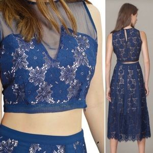 Anthropologie Foxiedox Navy Lace Crop Top